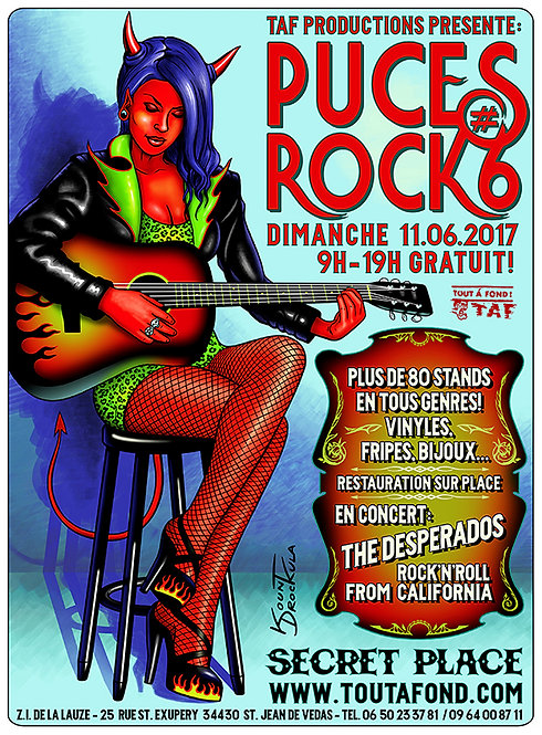 Aperçu graphisme / Kount Drockula / Puces Rock 2017 / Secret Place / Devil Girl Guitar Pinup Leopard Rockabilly
