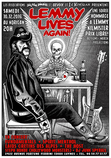 Aperçu graphisme / Kount Drockula / Lemmy Lives Again! / Motörhead Guitar Death Angel Jack Daniels Ace of Spades Hard Rock