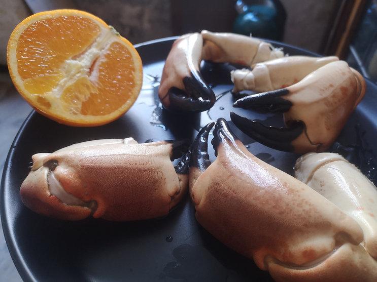 Pinces de crabe et orange