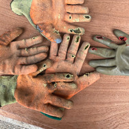 Worn out gloves from ballast