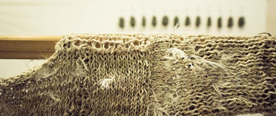Storyteller(detail7), nettle, alpaca, silk, wool, copper, plant dyes feathers; 224x120x41cm; photo Anne  Thomson; Fiona Percy