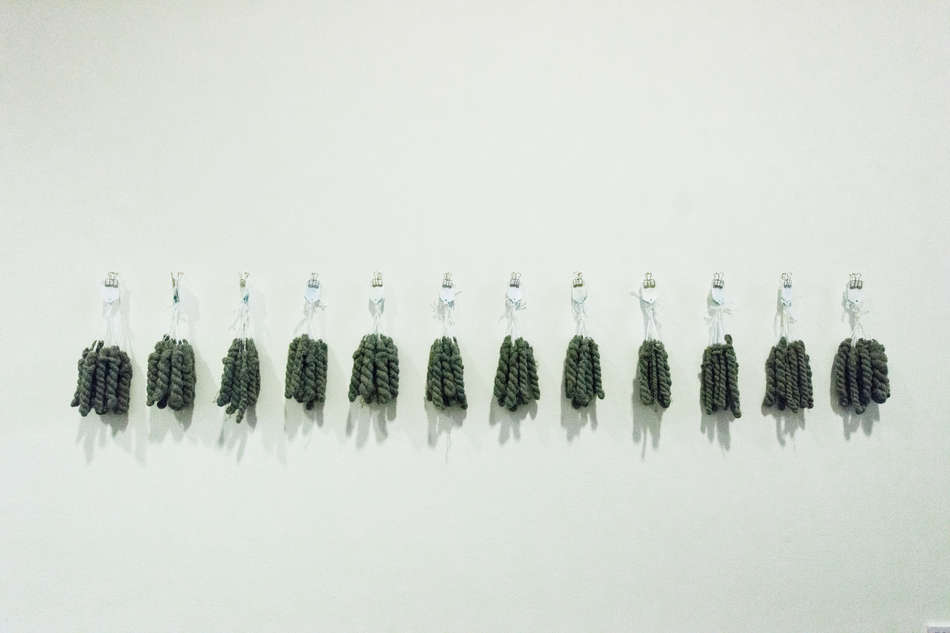 Strands of Thought, (detail6); nails, wool, tags, clips, digital imagery; 430x240cm; photo A Thompson; Fiona Percy 2018