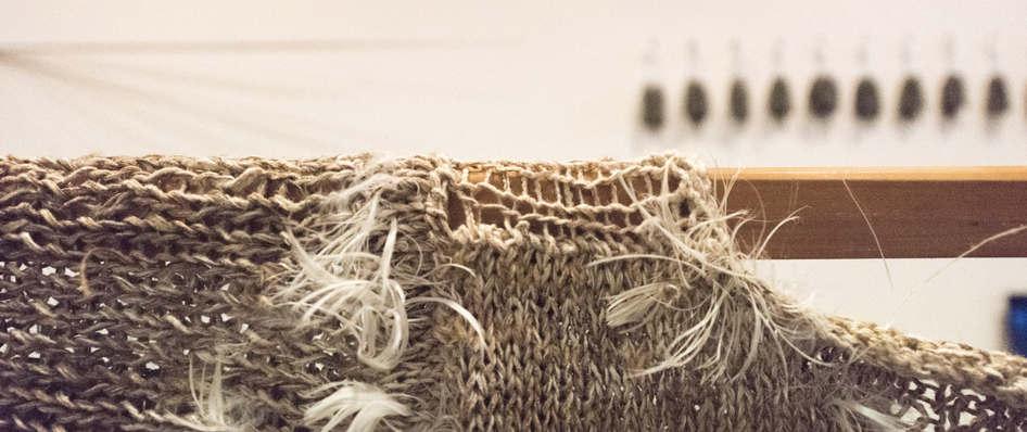 Storyteller(detail6), nettle, alpaca, silk, wool, copper, plant dyes feathers; 224x120x41cm; photo Anne  Thomson; Fiona Percy
