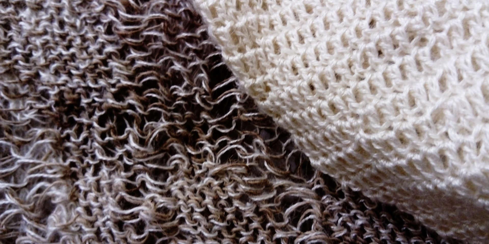 Wild Swans, Abridged (detail11); nettle silk, ramie; 240x159x166cm; Fiona Percy 2018