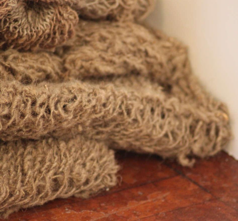 Wild Swans, Abridged (detail10); nettle silk, ramie; 240x159x166cm; Fiona Percy 2018