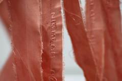 Ribinnean Riomach (detail1); silk, calico, madder root, wool; 130x45cm; Fiona Percy 2017