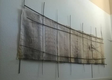 Acorn Rhythms; silk, cotton, wool, linen, acorns, willow, broom, wool, iron; 180x90cm; Fiona Percy 2016