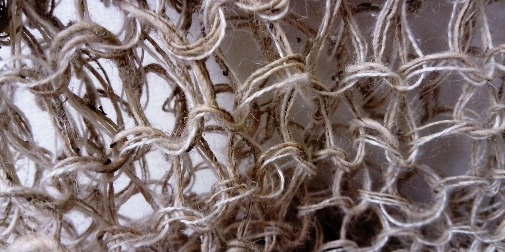 Wild Swans, Abridged (detail12); nettle silk, ramie; 240x159x166cm; Fiona Percy 2018