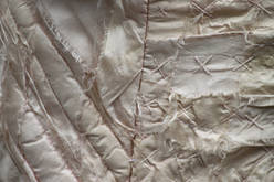 Ribinnean Riomach (detail2); silk, calico, madder root, wool; 130x45cm; Fiona Percy 2017