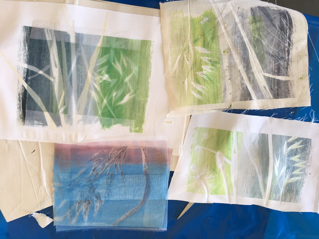 Heat press and transfer dyes, playing with grasses and layers