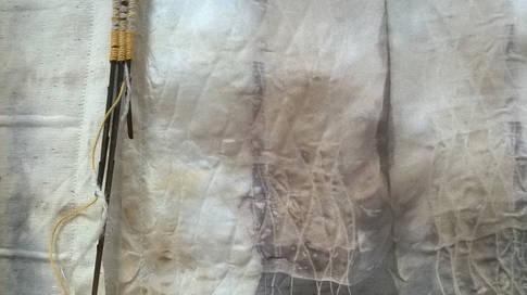 Acorn Rhythms (detail2); silk, cotton, wool, linen, acorns, willow, broom, wool, iron; 180x90cm; Fiona Percy 2016
