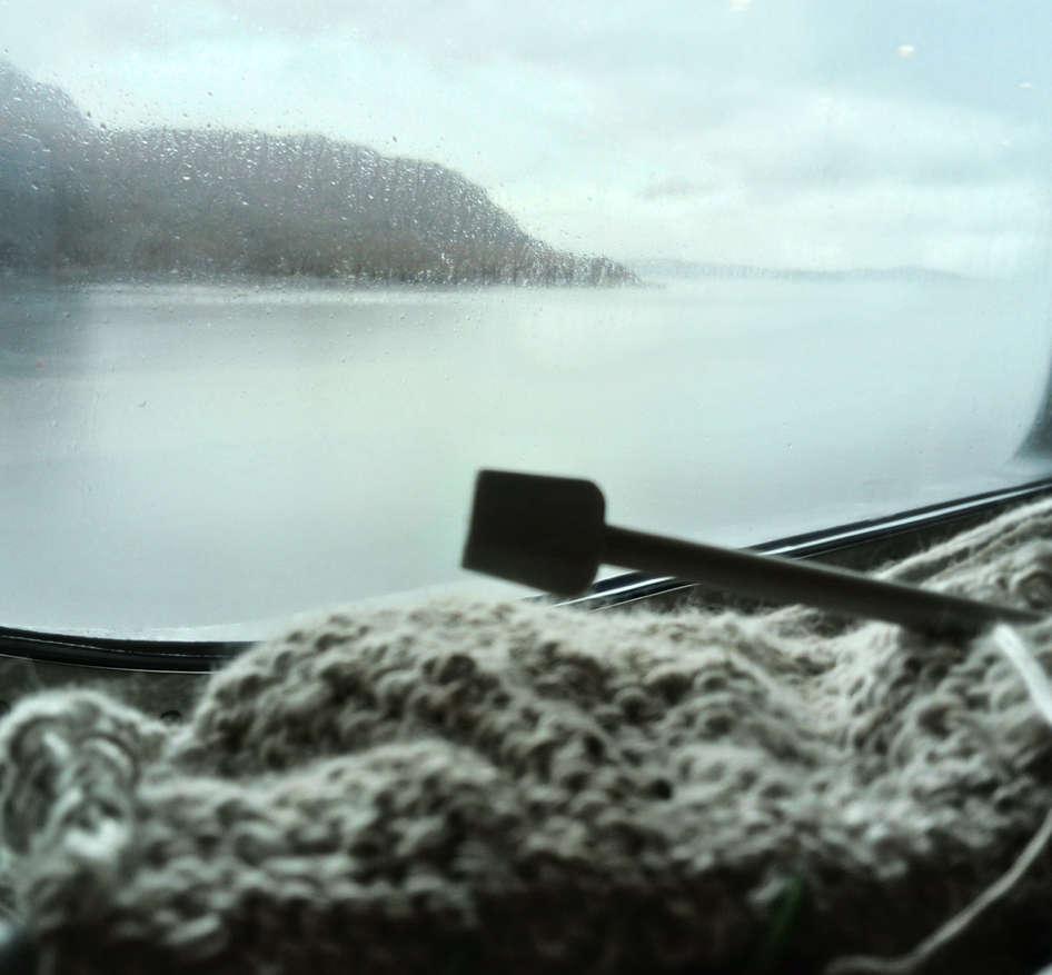 Wild knitting for wild swans on ferry to Stonoway; Fiona Percy 2018