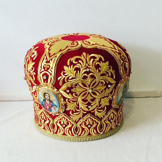 Orthodox priest (bishop) mitra. Red-Gold