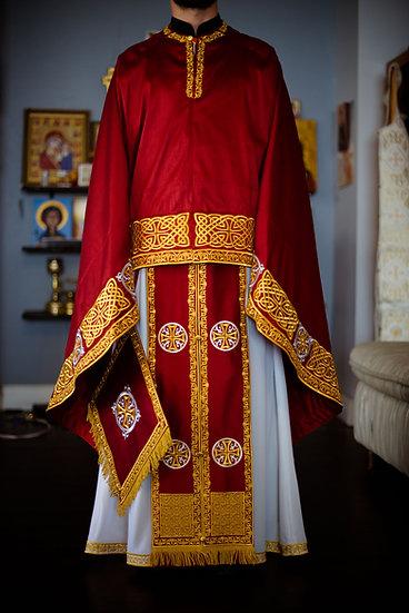 Orthodox priest vestments set dark red gold silver