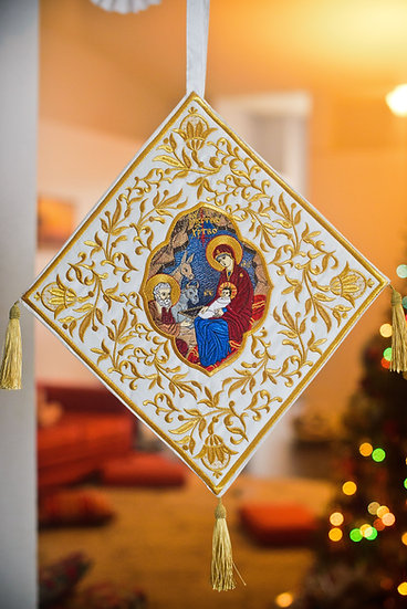 Epigonation, palitsa fully embroidered for orthodox priest, bishop
