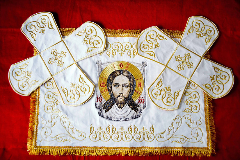 Chalice covers, white, with an embroidered icon