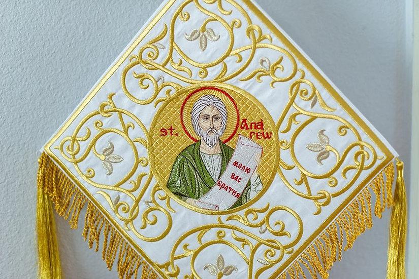 Epigonation, Palitsa, white gold with the Icon of st Andrew