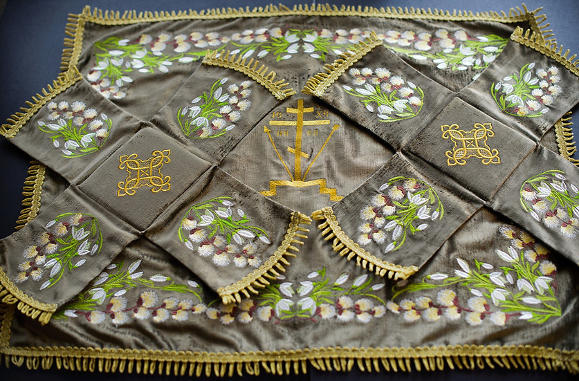 Embroidered Chalise covers, veils for Palm Sunday, var.2