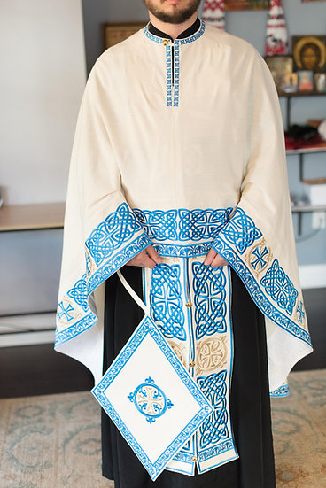Orthodox priest vestments,White-blue, Embroidered, Linen