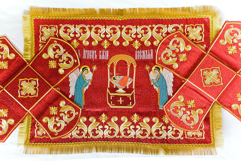 Chalise covers, veils. Red Color, embroidered with icon of Holy Lamb