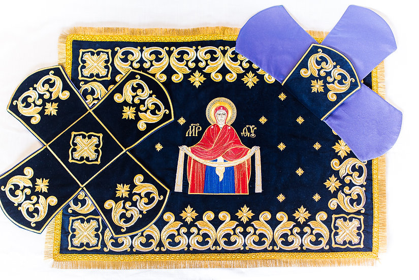 Chalise covers, veils. Dark blue Color, embroidered with icon of MostHoly Theotk