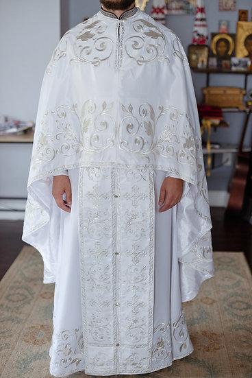 Orthodox priest vestments set, White, Embroidered, silk