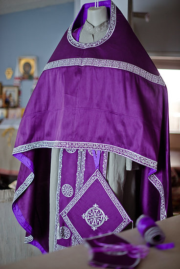 Orthodox priest vestments set, Purple silver, Embroidered, silk, Russian style