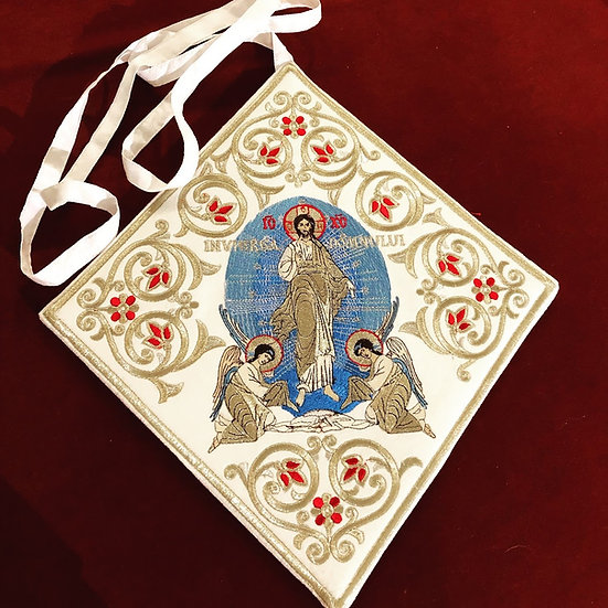 Epigonation, Palitsa, white silver with the Icon of Ressurectionokos