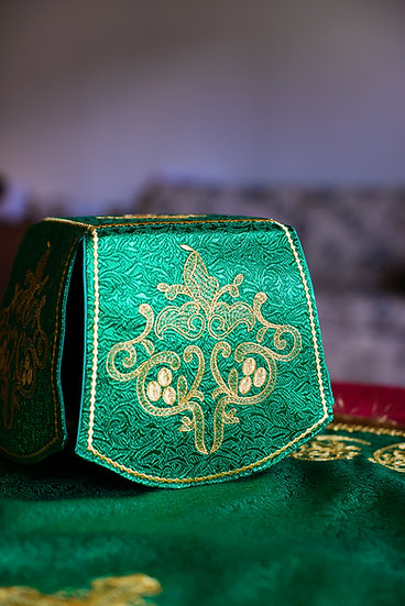 Green color chalice covers set, fully embroidered
