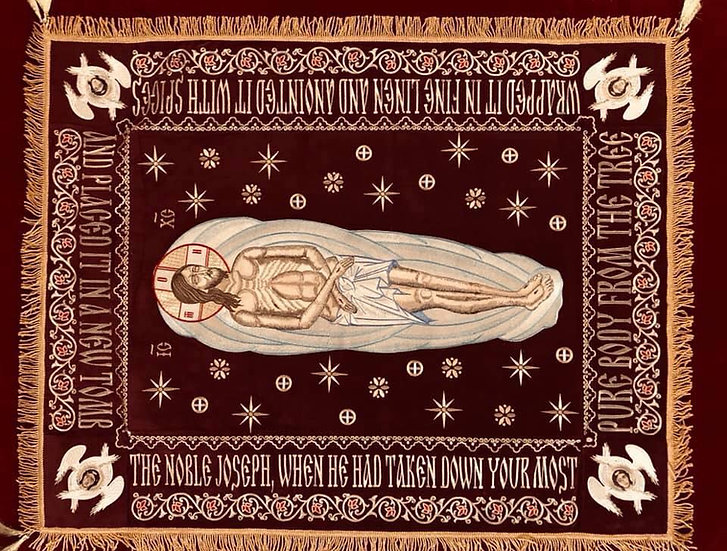 Fully-embroidered Orthodox epitaphios (shroud) of Christ our God