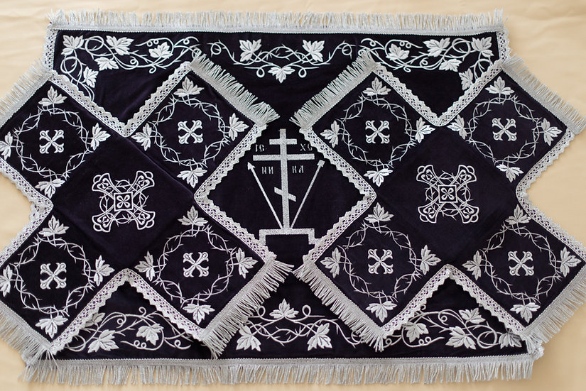 Chalise covers, veils. Black Color, embroidered with Golgofa
