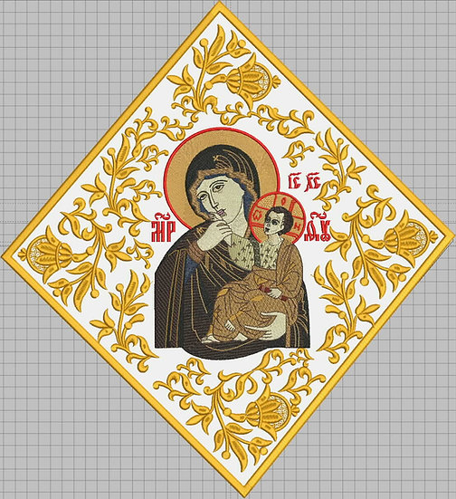 Epigonation, palitsa fully embroidered for orthodox priest with Theotokos