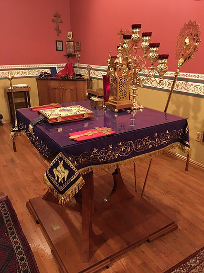 Holy table cover dark purple, with gold embroidery