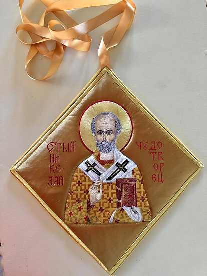 Epigonation, Palitsa, white silver with the Icon of st Nicholas