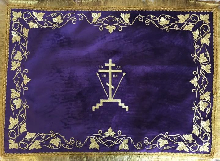 Chalice covers, veils, purple color, for Great Lent