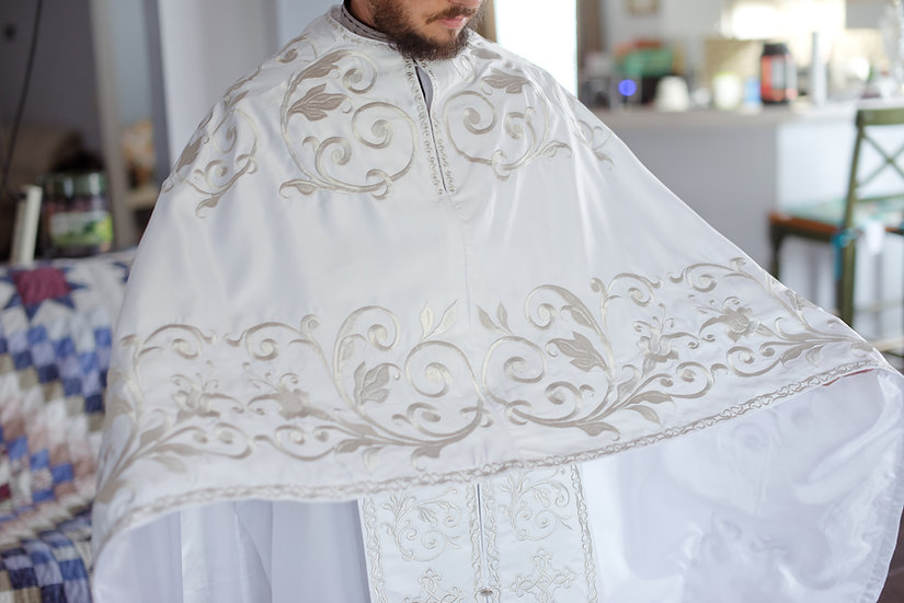 Orthodox priest vestments,White-silver, Embroidered, Satin