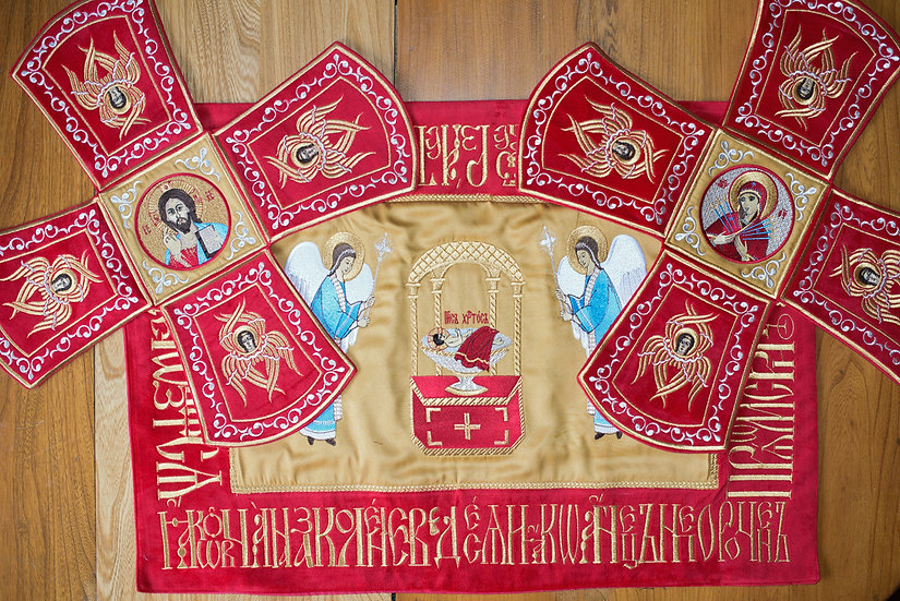 Chalise covers, veils. Red Color, embroidered with icons»»