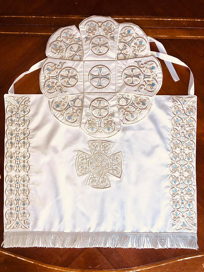 Embroidered Chalice covers, veils. White-silver
