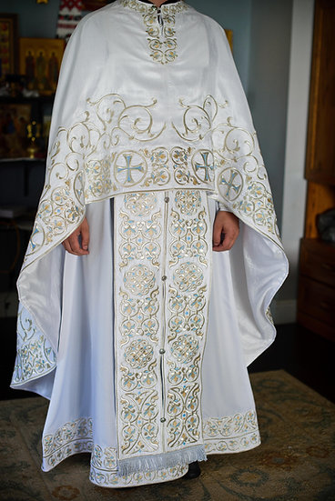 White silver full embroidered  vestments