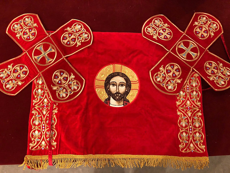 Chalice covers red, with icon of Christ
