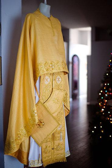 Orthodox priest vestments set greek style, Gold silk 100% natural