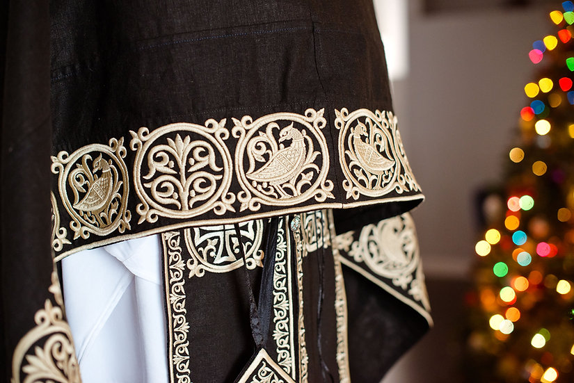 Orthodox priest vestments,Black, Embroidered