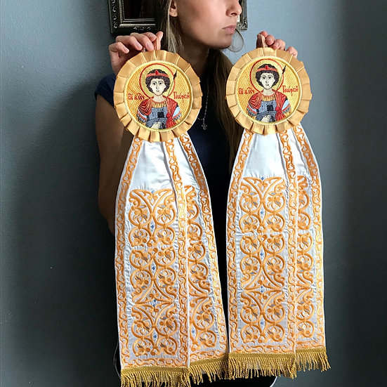 Embroidered ribbons with the icon of st. George