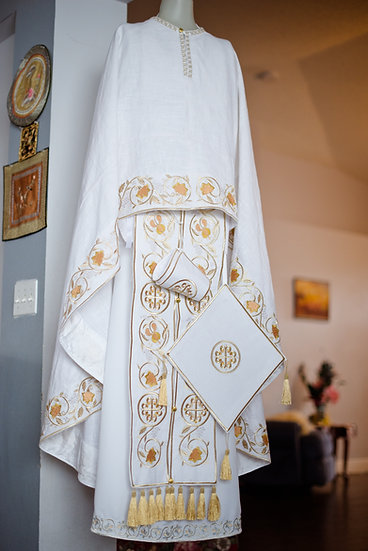 Orthodox priest vestments set, White, Embroidered, linen!