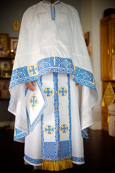 Orthodox priest vestments set greek style, white blue gold fully embroidered