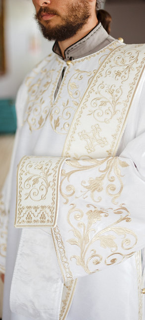Deacon embroidered vestments white with silver embroidery