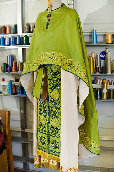 Orthodox priest vestments, green, Embroidered, natural silk
