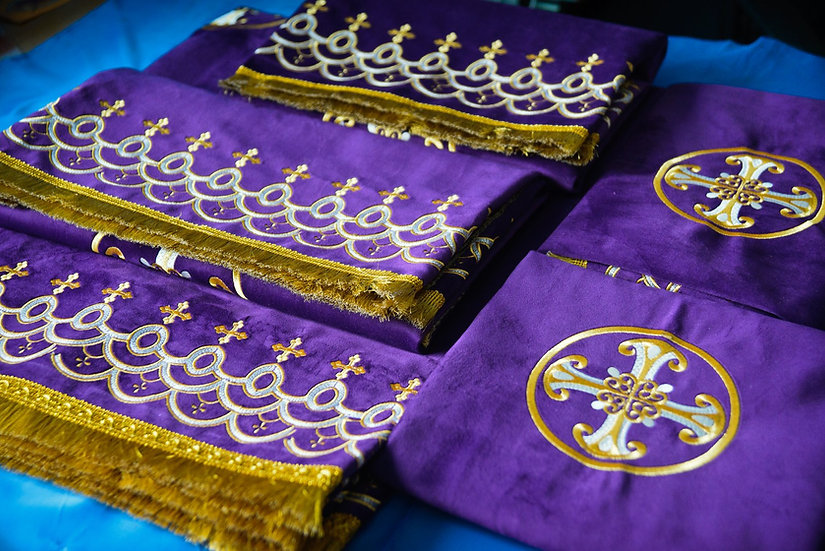 The altar and church covers purple color with metallic silver embroidery»