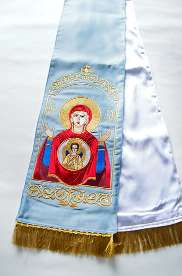 Embroidered Gospel bookmark with the icon of Sign of Most Holy Theotokos
