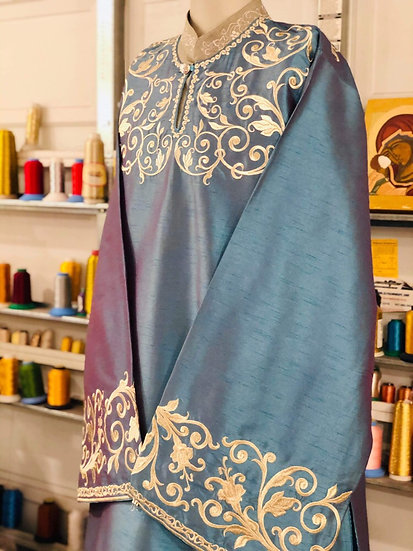 Deacon embroidered vestments blue with silver embroidery